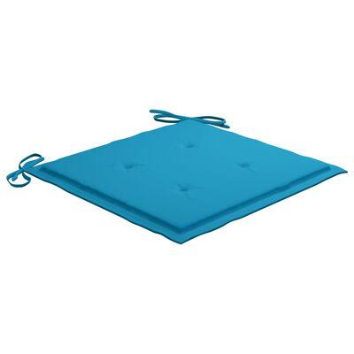 vidaXL Matstolar 4 st med blåa dynor massiv teak