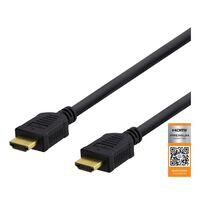 DELTACO High-Speed Premium HDMI-kabel, 1m, Ethernet, 4K UHD, svart