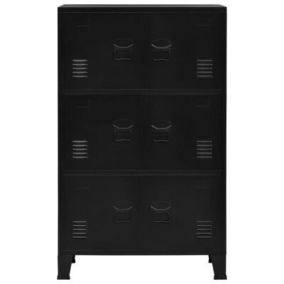 vidaXL Dokumentskåp med 6 dörrar industriell svart 75x40x120 cm stål