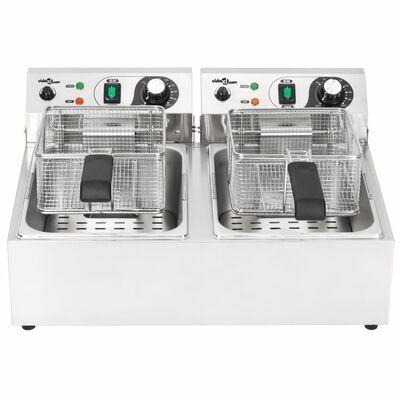 vidaXL Elektrisk fritös rostfritt stål 20 L 6000 W