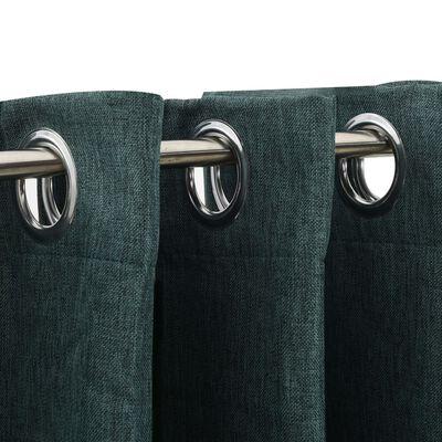 vidaXL Mörkläggningsgardin med öljetter linnelook 2 st grön 140x225cm