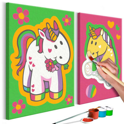 Gör-det-själv Målningar - Unicorns (green & Pink) - 33x23 Cm