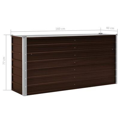 vidaXL Odlingslåda upphöjd brun 160x40x77 cm galvaniserat stål