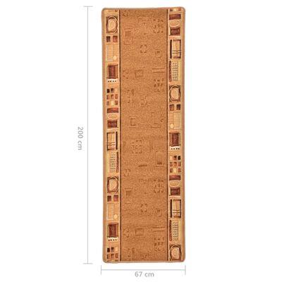vidaXL Halkfri gångmatta beige 67x200 cm