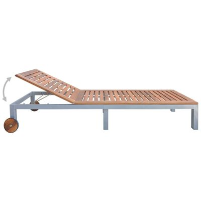 vidaXL Solsäng med dyna massivt akaciaträ och galvaniserat stål