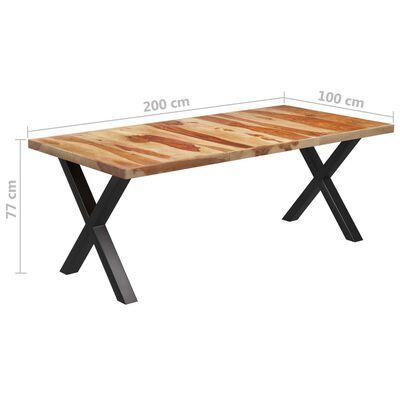 vidaXL Matbord med X-formade ben 200x100x77 cm massivt sheshamträ