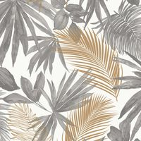 DUTCH WALLCOVERINGS Tapet palmer grå och beige