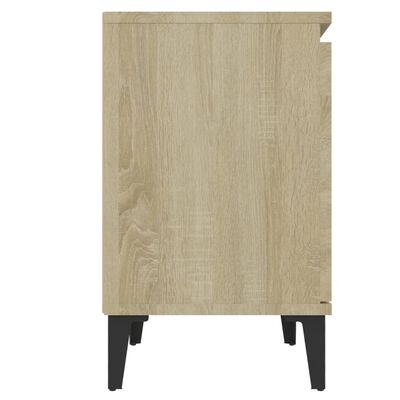vidaXL Sängbord med metallben 2 st sonoma-ek 40x30x50 cm
