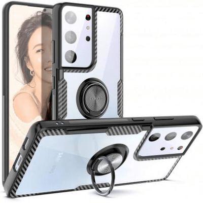 Samsung S21 Ultra Praktisk Stöttåligt Skal med Ringhållare V4