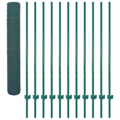 vidaXL Nätstängsel med stolpar stål 25x2 m grön