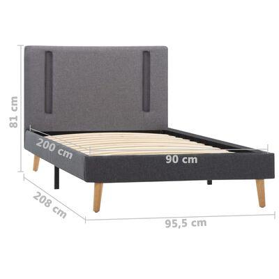 vidaXL Sängram med LED ljusgrå och mörkgrå tyg 90x200 cm