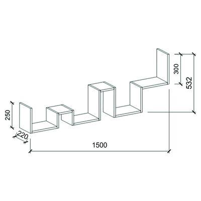Homemania Vägghylla Ladder 150x22x53,2 cm vit,