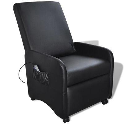 vidaXL Massagefåtölj svart konstläder