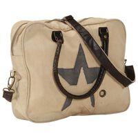 vidaXL Handväska beige 40x54 cm kanvas och äkta läder