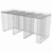 vidaXL Gabionmur för soptunnor galvaniserat stål 270x100x130 cm