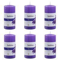 Bolsius Ribbade blockljus med doft 6 st 120x58 mm lavendel