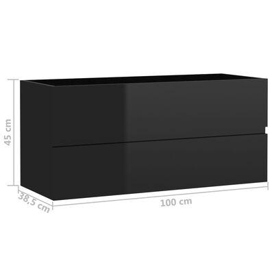 vidaXL Tvättställsskåp svart högglans 100x38,5x45 cm spånskiva
