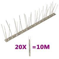 vidaXL 5-raders fågelpiggar i rostfritt stål 20 st 10 m