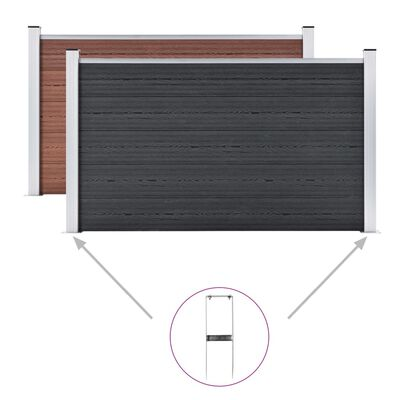 vidaXL Jordspett till staket 2 st WPC stål 40 cm