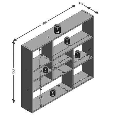 FMD Väggmonterad hylla med 9 utrymmen ek