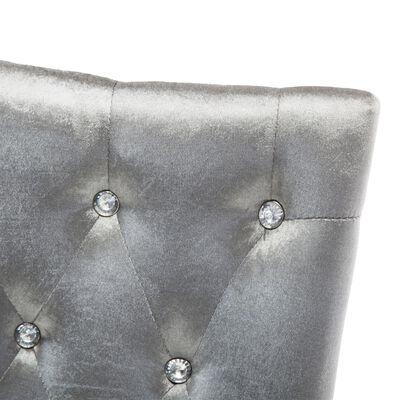 vidaXL Matstolar 6 st silver sammet