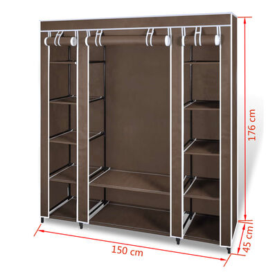 vidaXL Resegarderob med fack och stänger 45 x 150 x 176 cm brun