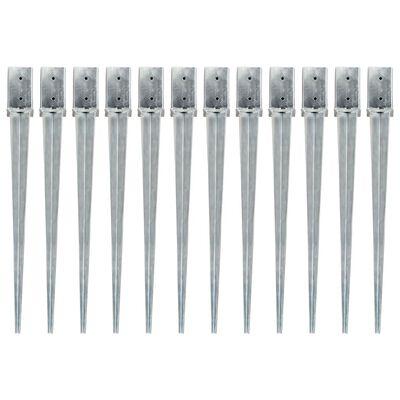 vidaXL Jordspett 12 st silver 8x8x91 cm galvaniserat stål