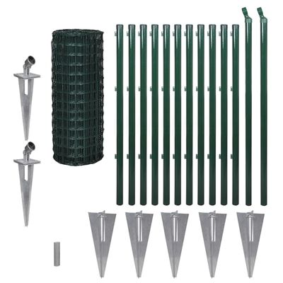vidaXL Eurofence stål 25 x 1,0 m grön