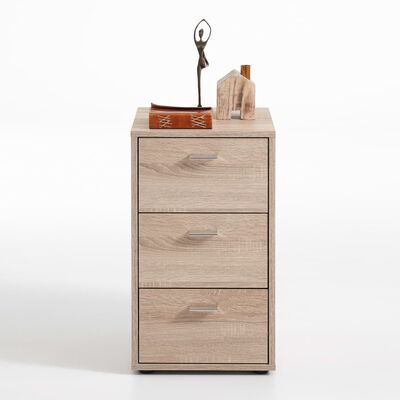 FMD Sängbord med 3 lådor ek