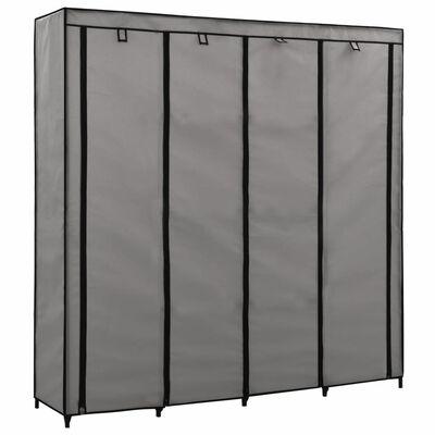 vidaXL Garderob med 4 fack grå 175x45x170 cm