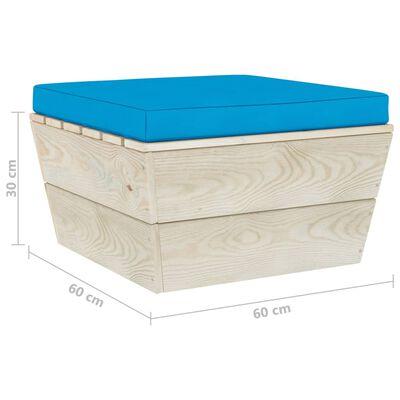 vidaXL Pallsoffa för trädgården med dynor 3 delar granträ