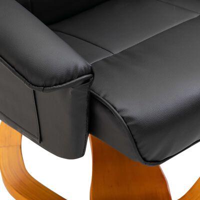 vidaXL Snurrbar TV-fåtölj med fotpall svart konstläder