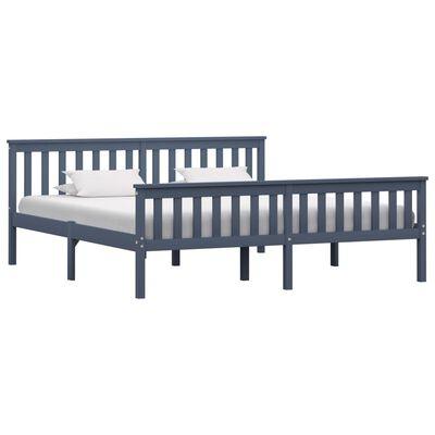vidaXL Sängram grå massiv furu 180x200 cm