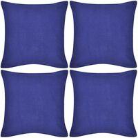 4 Kuddöverdrag i bomull blåa 40 x 40 cm