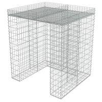 vidaXL Gabionmur för soptunna galvaniserat stål 110x100x130 cm