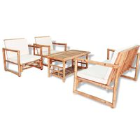 vidaXL Loungegrupp för trädgården med dynor 4 delar bambu