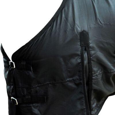Hästtäcke i fleece med dubbla lager och kryssgjordar 105 cm svart