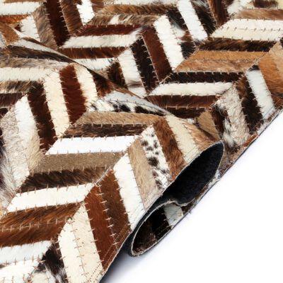 vidaXL Matta äkta läder lappad fiskbensmönster 80x150 cm brun/vit