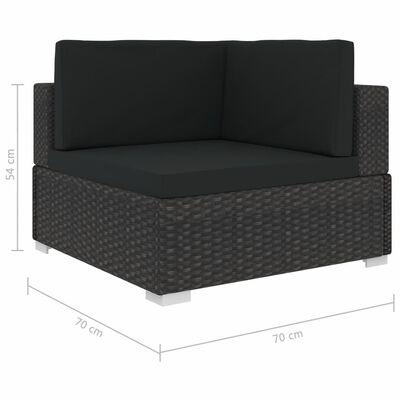 vidaXL Loungegrupp för trädgården med dynor 7 delar konstrotting svart