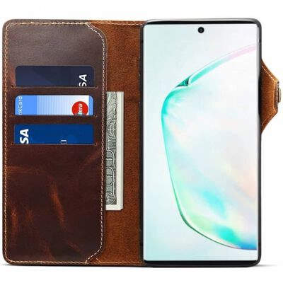 Mobilplånbok 3-kort äkta läder Samsung Galaxy Note 10 (SM-N970F) Br