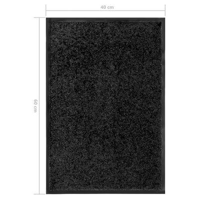 vidaXL Dörrmatta tvättbar svart 40x60 cm