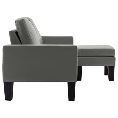 vidaXL 3-sitssoffa med fotpall grå konstläder