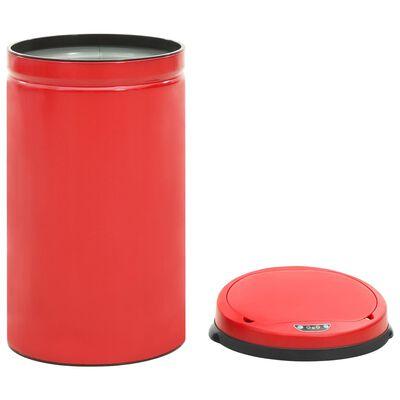 vidaXL Soptunna med automatisk sensor 50 L kolstål röd