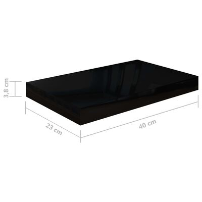 vidaXL Svävande vägghyllor 4 st svart högglans 40x23x3,8 cm MDF