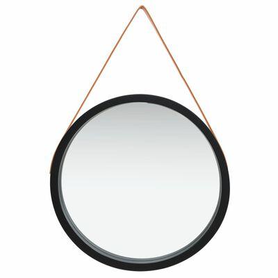 vidaXL Väggspegel med rem 60 cm svart