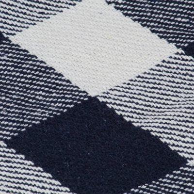 vidaXL Filt bomull rutig 160x210 cm marinblå