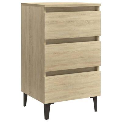 vidaXL Sängbord med metallben sonoma-ek 40x35x69 cm