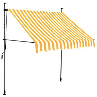 vidaXL Markis manuellt infällbar med LED 150 cm vit och orange
