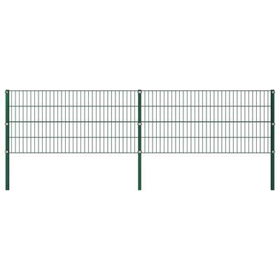 vidaXL Stängselpanel med stolpar järn 3,4x0,8 m grön