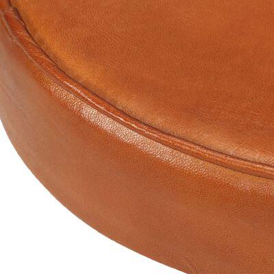 vidaXL Barstolar 2 st brun äkta läder och gjutjärn